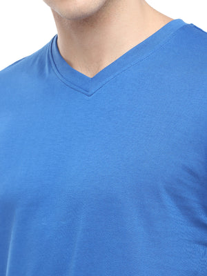 Rock Hooper - Men's Regular Fit Half Sleeve V Neck Classic Blue Cotton T-shirt