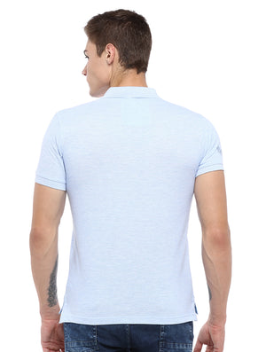 Rock Hooper Men's Solid Collar Cotton Sky Blue Half Sleeve Polo T-Shirt
