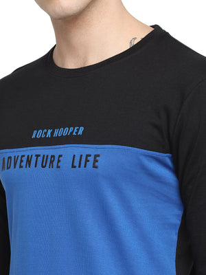 Rock Hooper Men's Full sleeve Round Neck Cotton Black/Classic Blue T-Shirt