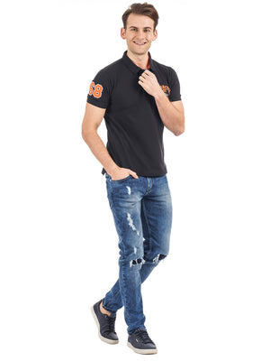 Rock Hooper Men's Solid Collar Cotton Black Half Sleeve Polo T-Shirt