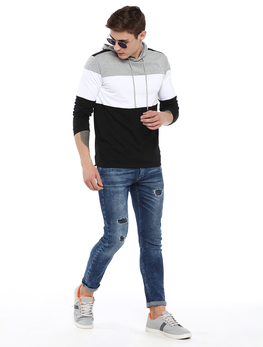 Rock Hooper Men's Full sleeve Cotton Color Block Hooded T-shirt