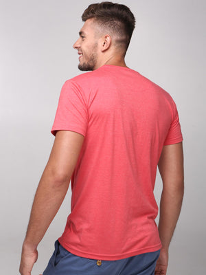 Rock Hooper Men's Half Sleeve Cotton Peach Round Neck  T-Shirt