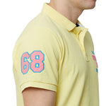 Rock Hooper Men's Solid Half sleeve Cotton Sunshine Yellow Polo T-shirt