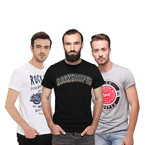 Rock Hooper-Men's Half Sleeve Cotton Multicolor Combo T-shirt(Pack of 3)