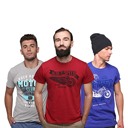 Rock Hooper-Men's Half Sleeve Cotton Multicolor Combo T-shirt
