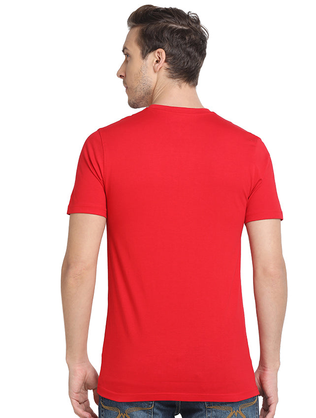 Rock Hooper - Men's Regular Fit Half Sleeve V Neck Mustard Yellow/White/Navy Blue/Aqua Blue/Chilly Red/Light Grey Melange/Black/Maroon Cotton T-shirt