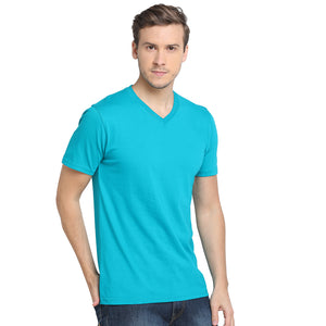 Rock Hooper - Men's Regular Fit Half Sleeve V Neck Aqua Blue Cotton T-shirt