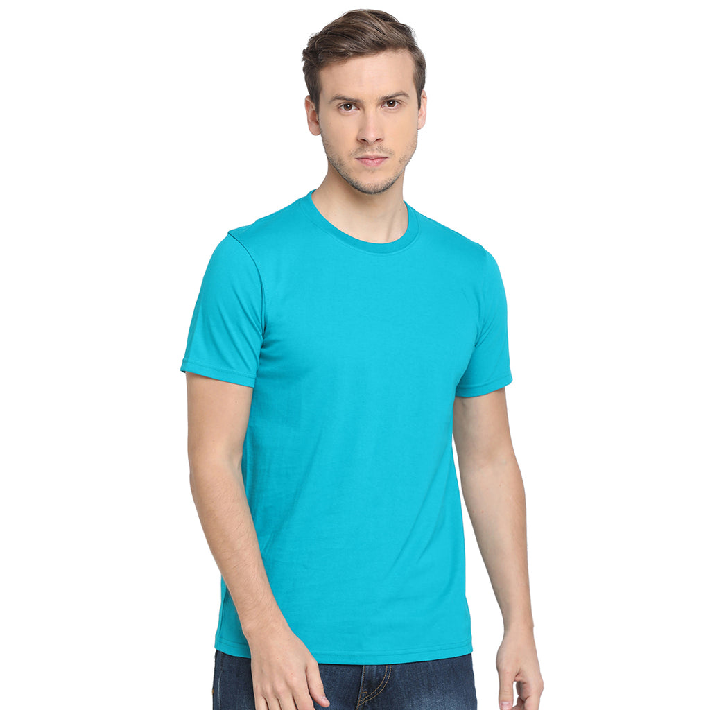 Rock Hooper - Men's Regular Fit Half Sleeve Round Neck Aqua Blue Cotton T-shirt