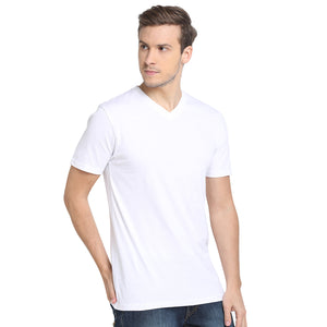 Rock Hooper - Men's Regular Fit Half Sleeve V Neck White Cotton T-shirt