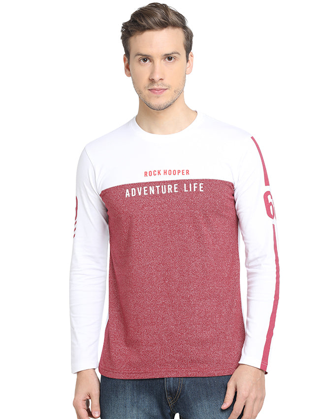 Rock Hooper - Men's Slim Fit Full Sleeve White/Maroon Round Neck Cotton T-shirt