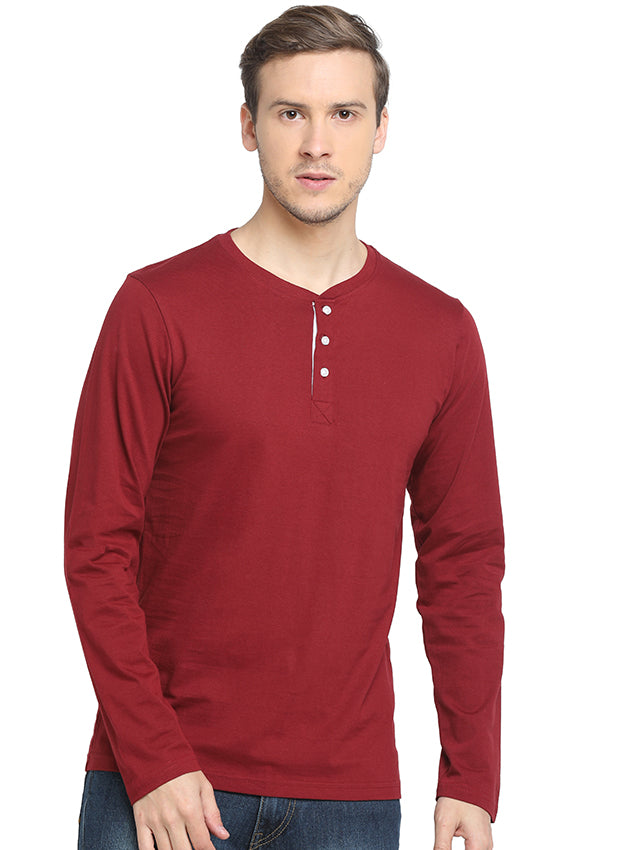 Rock Hooper - Men's Regular Fit Full Sleeve Henley Neck Maroon/Classic Blue/Mustard Yellow/Chilly Red Cotton T-shirt