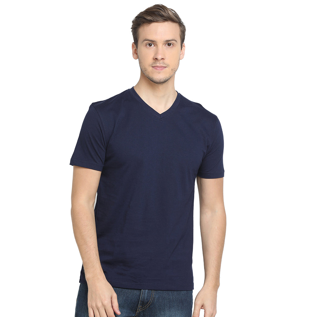Rock Hooper - Men's Regular Fit Half Sleeve V Neck Navy Blue Cotton T-shirt