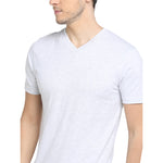 Rock Hooper - Men's Regular Fit Half Sleeve V Neck Navy Grey Cotton T-shirt