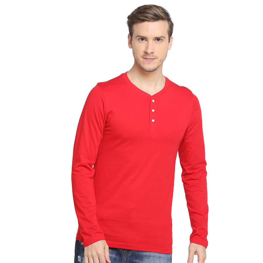 Rock Hooper - Men's Regular Fit Full Sleeve Henley Neck Chilly Red Cotton T-shirt