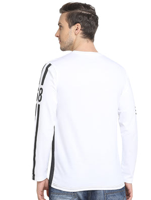 Rock Hooper - Men's Slim Fit Full Sleeve White/Grey Round Neck Cotton T-shirt