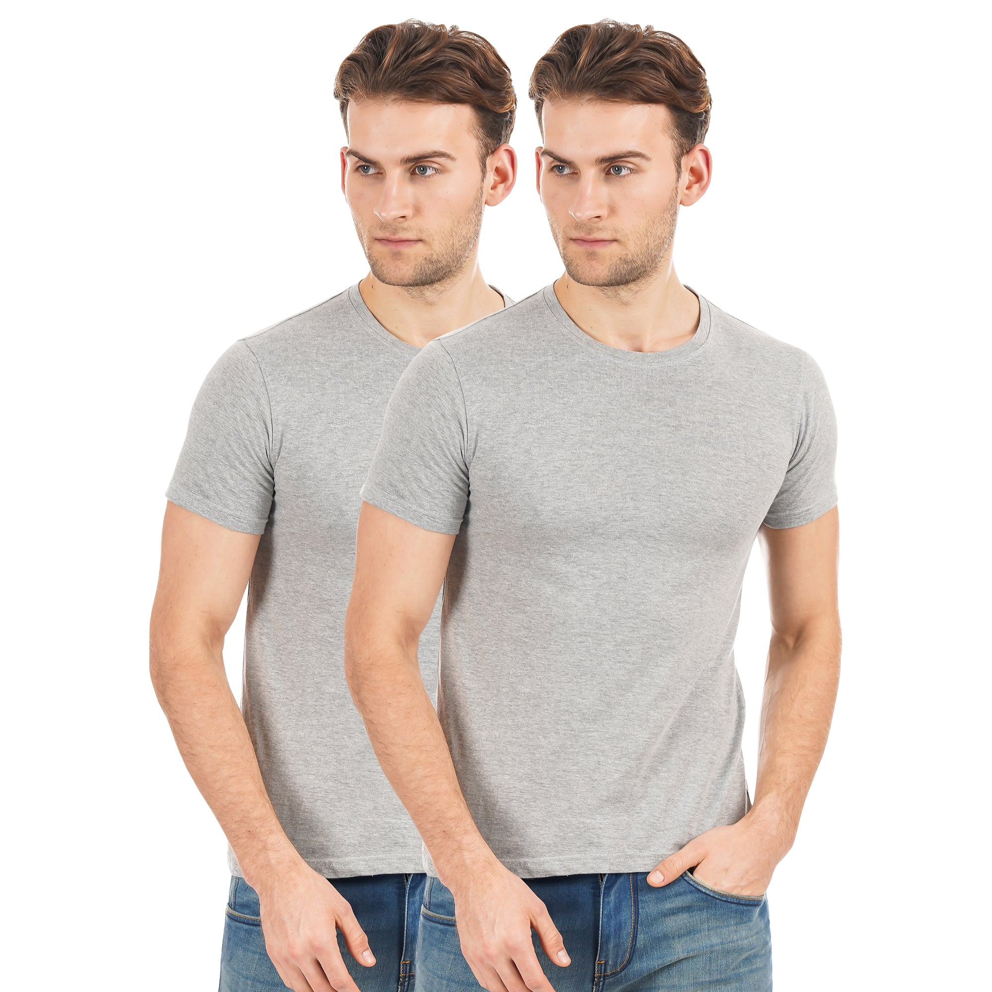 Rock Hooper-Men's Half Sleeve Cotton Plain White/Black/Grey Round Neck T-Shirt(Pack of 2)