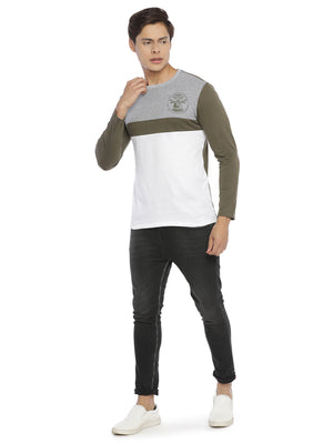 Rock Hooper Men's Round Neck Multicolor Full Sleeve Cotton T-Shirt