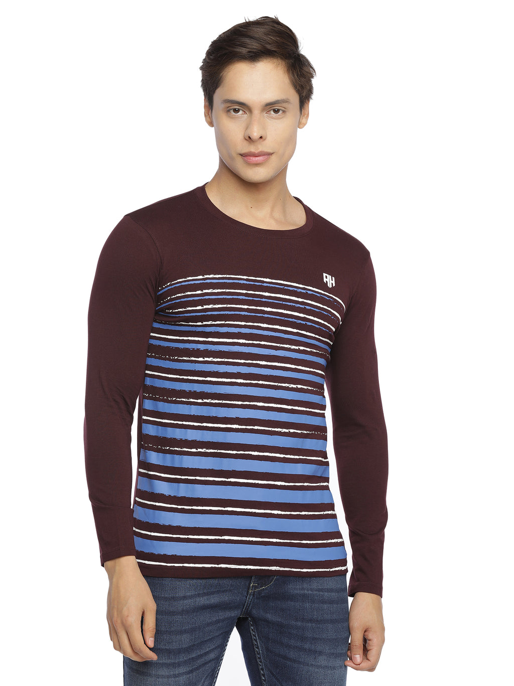 Rock Hooper Men's Striped Round Neck Full Sleeve Cotton Tshirt