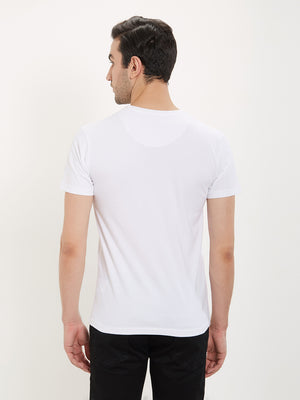 Rock Hooper Men's Half Sleeve Cotton White Round Neck T-Shirt