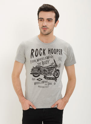 Rock Hooper Men's Half Sleeve Cotton Grey Round Neck T-Shirt