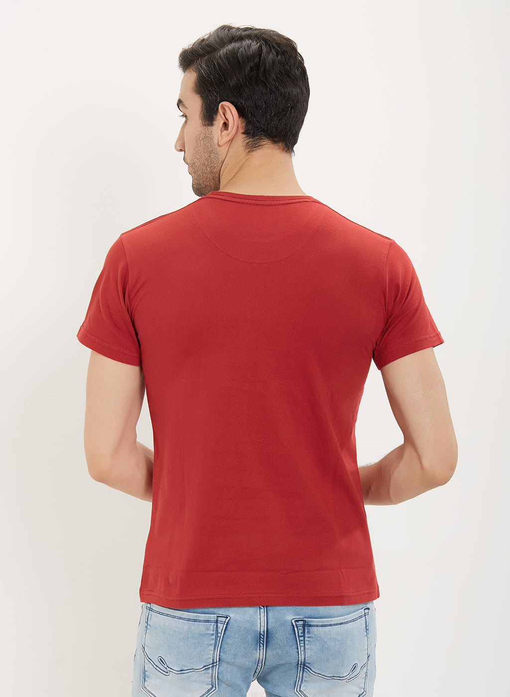 Rock Hooper Men's Half Sleeve Cotton Red Round Neck T-Shirt