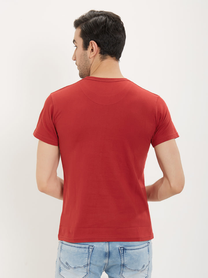 Rock Hooper Men's Casual Round Neck Red T-Shirt