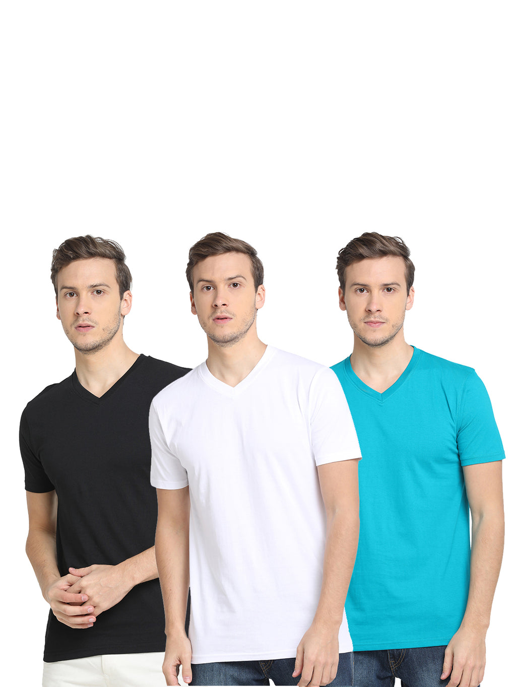 Rock Hooper Men's Half Sleeve V Neck Slim Fit Multicolor Combo T-shirt(Pack of 3)