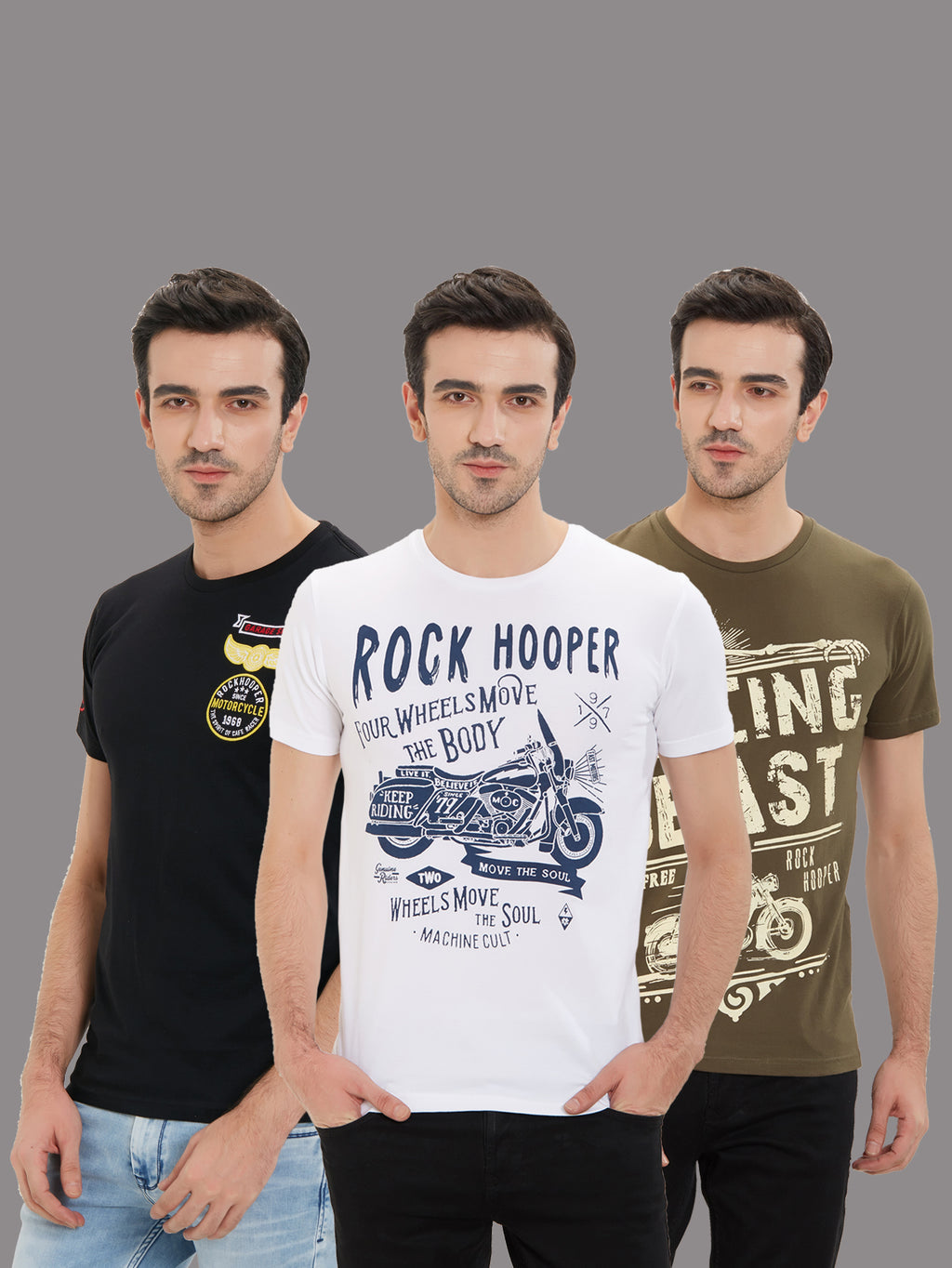 Rock Hooper - Men's Regular Fit Half Sleeve Printed Cotton T-shirt (Pack of 3)