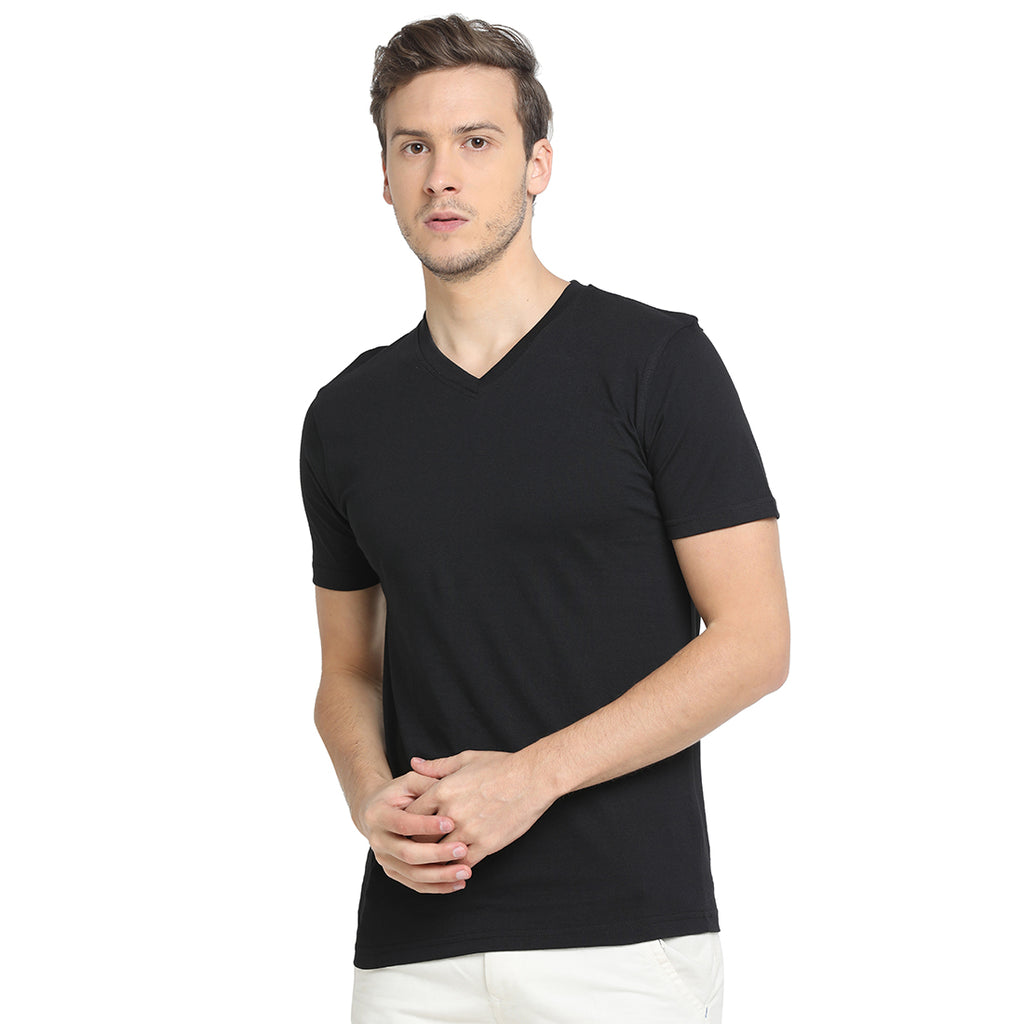 Rock Hooper - Men's Regular Fit Half Sleeve V Neck Black Cotton T-shirt