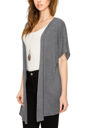 Womens Short Sleeve Open Front Loose Kimono Style Cardigan - DAILYHAUTE