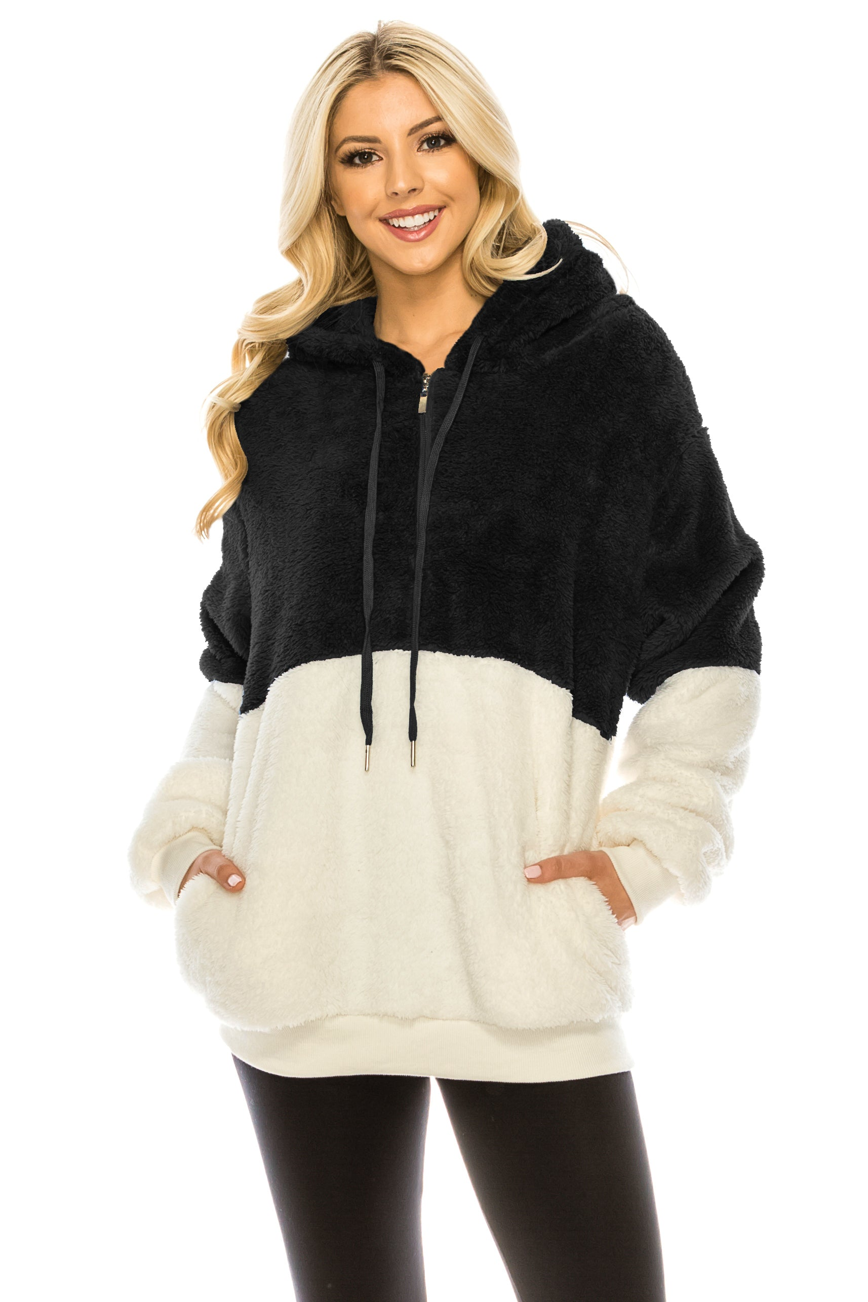 Haute Edition Women's Colorblock and Solid 1/4 Zip Sherpa Hoodie