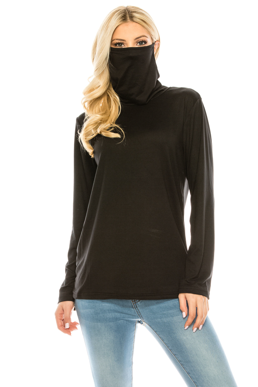 Haute Edition Cowl Neck Tee with Built-In Mask