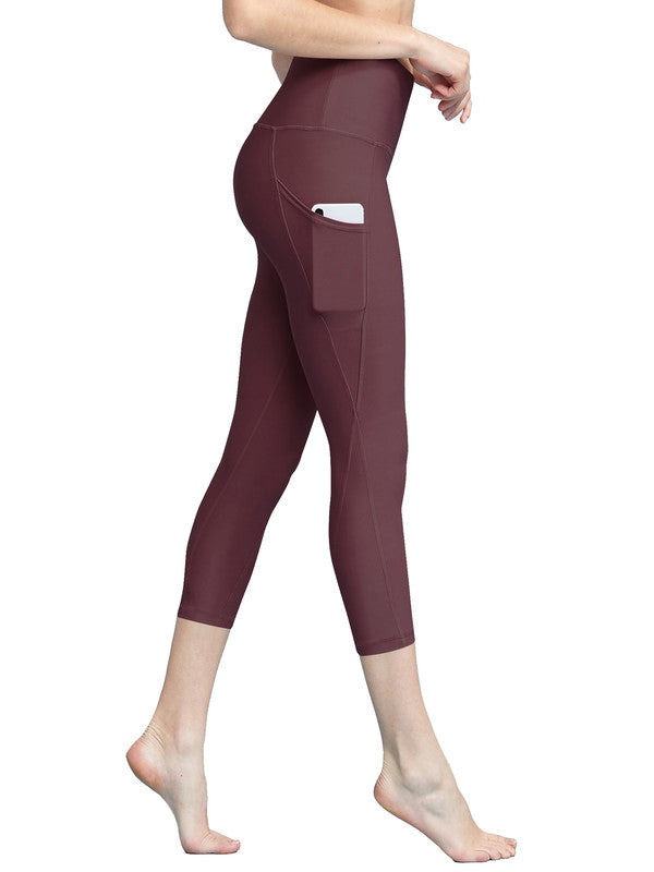 Women's Yoga Pants Tummy Compression Slimming Capri Leggins with Pocket - DAILYHAUTE