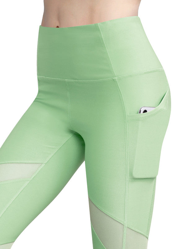 Women's Yoga Pants Tummy Compression Slimming Mesh Leggins with Pocket and Inner Pocket - DAILYHAUTE