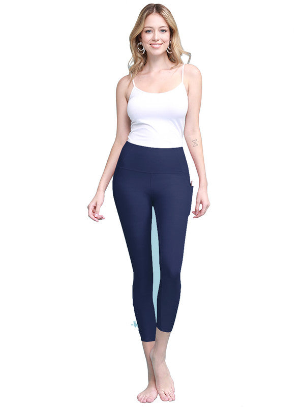 Women's Yoga Pants Tummy Compression Slimming Barre Mesh Capri Leggins with Pocket and Inner Pocket - DAILYHAUTE