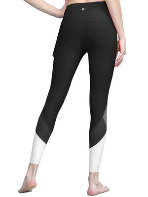 Women's Yoga Pants Tummy Compression Colorblock 7/8 Mesh Leggings with Pocket and Inner Pocket - DAILYHAUTE