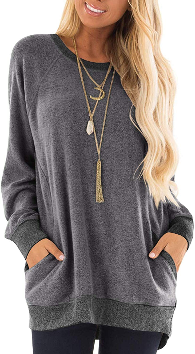 Haute Edition Women's Heather Contrast Slouchy Cozy Pocket Sweatshirt Tunic