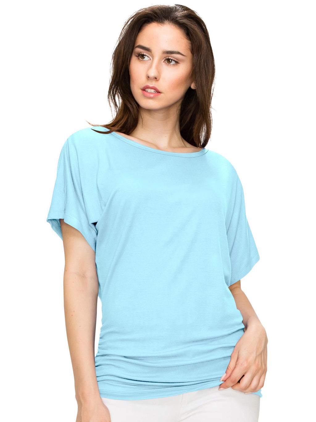 Women's Solid Short Sleeve Boat Neck V Neck Dolman Top - DAILYHAUTE