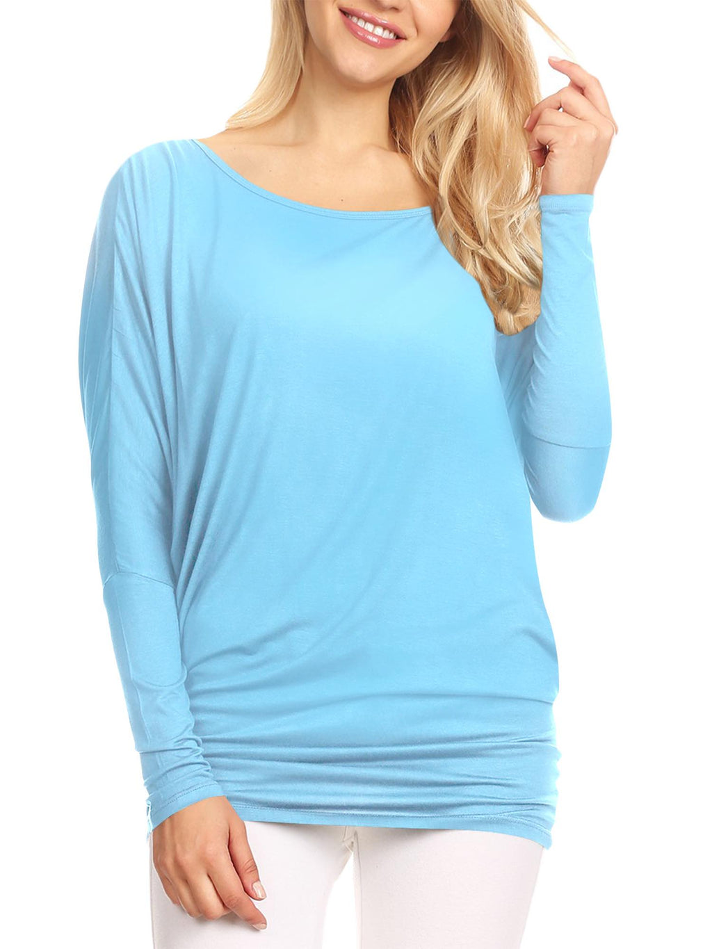Womens Flowy Draped Long Sleeve Batwing Dolman Top - DAILYHAUTE
