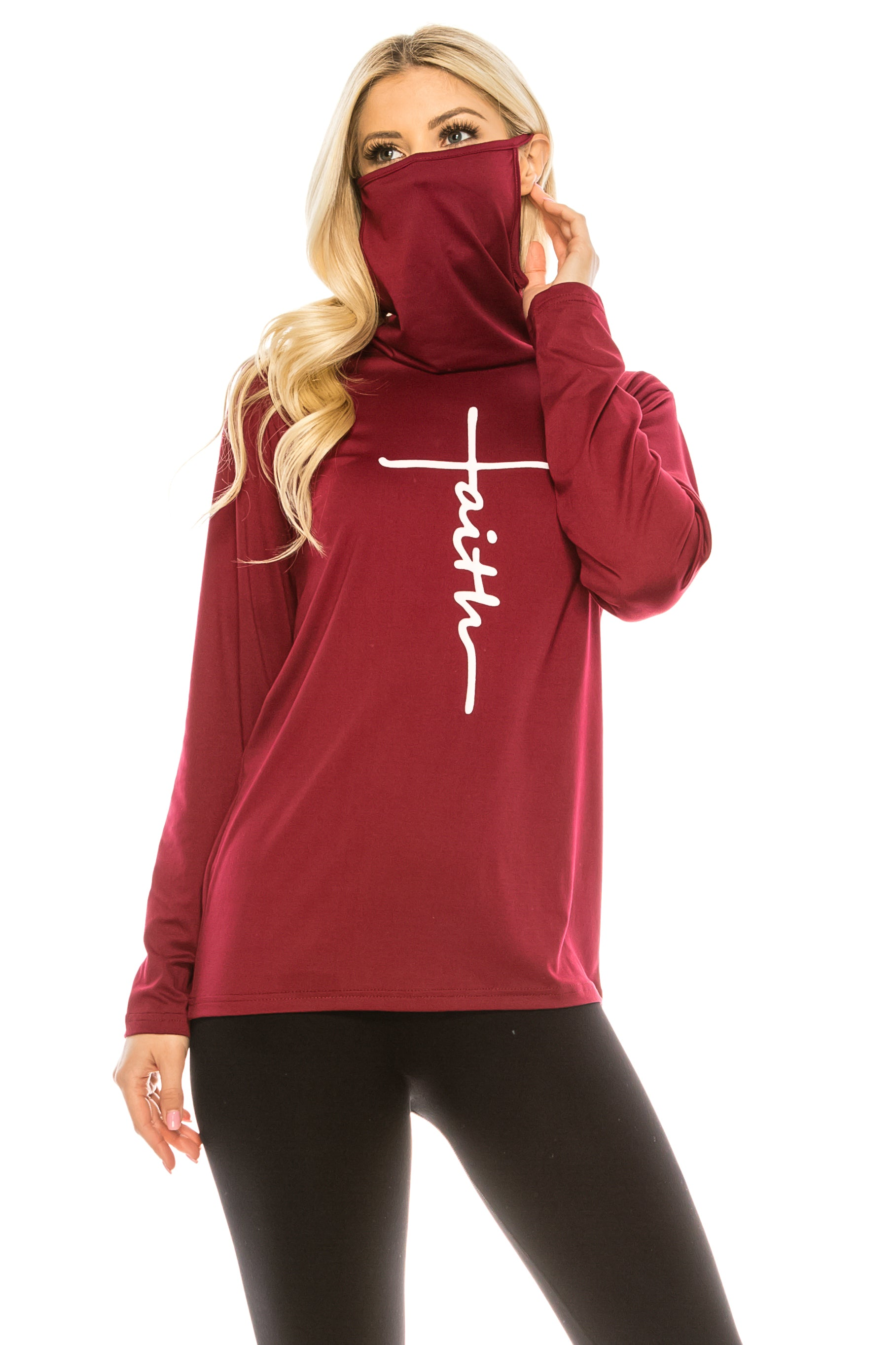 Haute Edition Women's Faith Print Cowl Neck Mask Top With With Plus