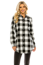 Haute Edition Women's Long Button Down Flannel Tunic Shirt with Plus