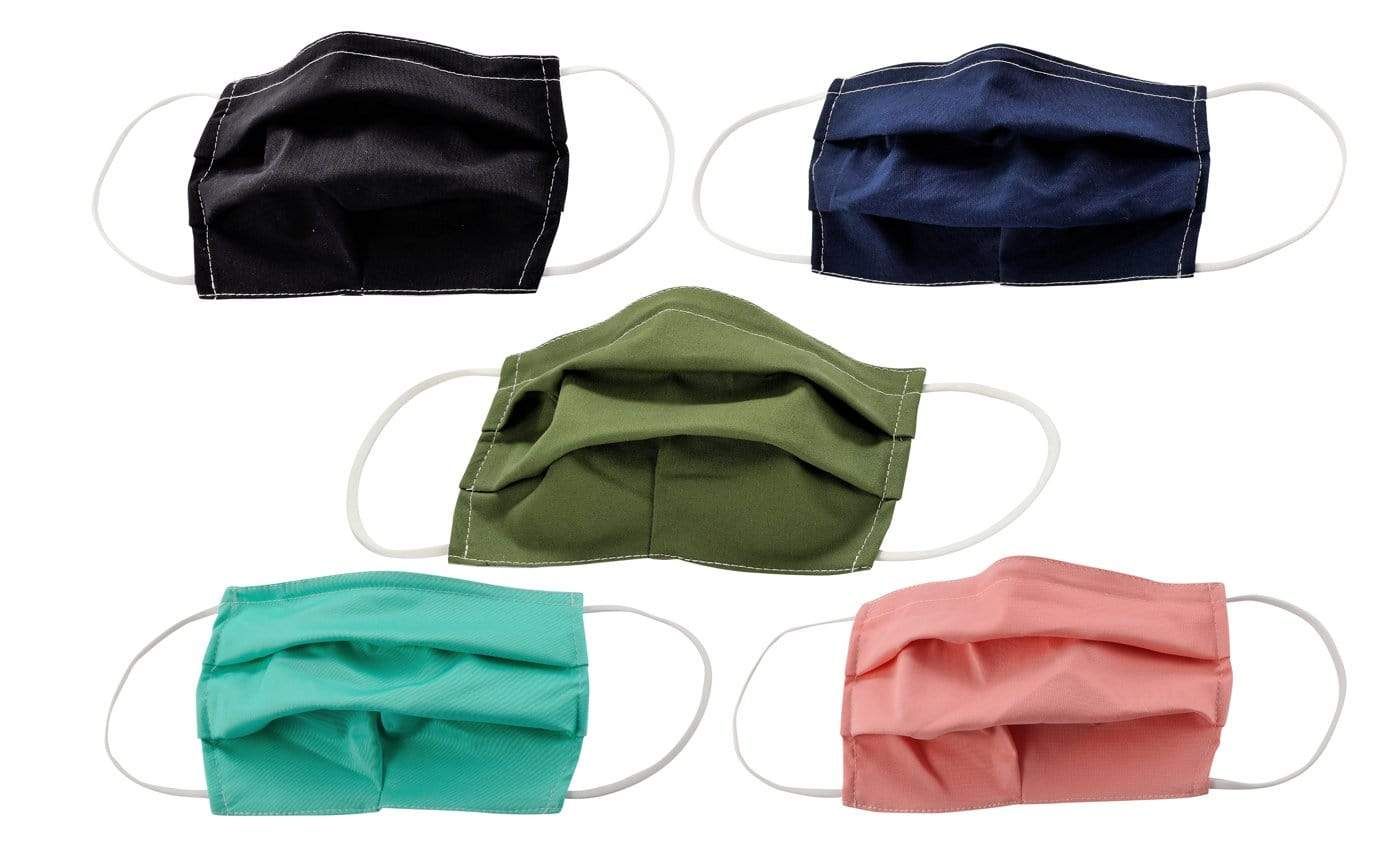 DAILYHAUTE FACE MASK MASK-PACK24 / One size / 5 PK 5-Pack Pleated Reusable Cotton Non-Medical Masks with Adjustable Nose Bridge