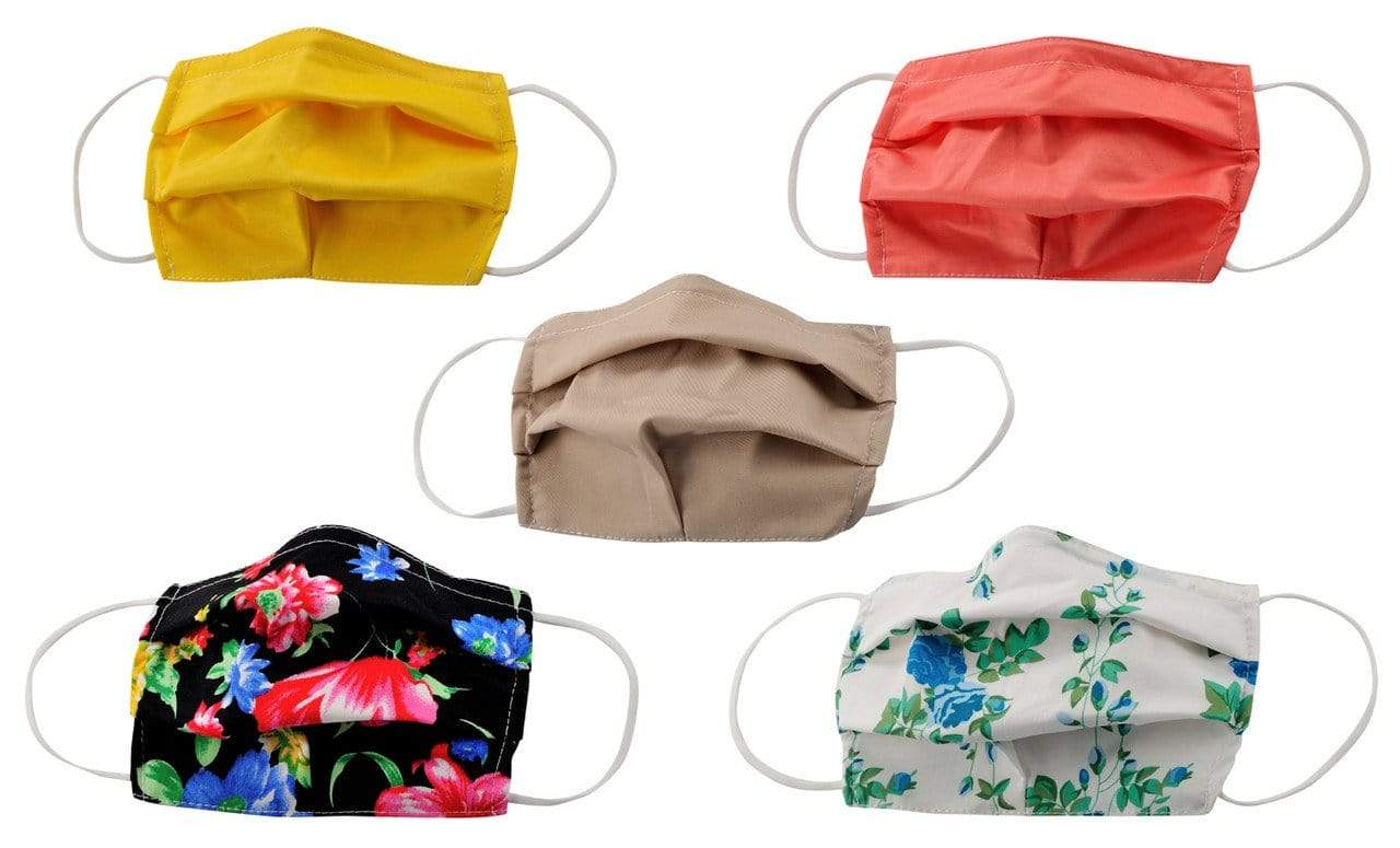 DAILYHAUTE FACE MASK MASK-PACK3 / One size / 5 5-Pack Pleated Reusable Cotton Non-Medical Masks with Adjustable Nose Bridge