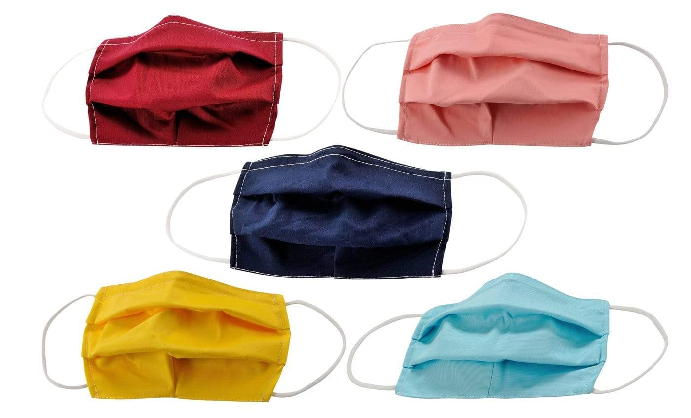 DAILYHAUTE FACE MASK MASK-PACK46 / One size / 5 PK 5-Pack Pleated Reusable Cotton Non-Medical Masks with Adjustable Nose Bridge