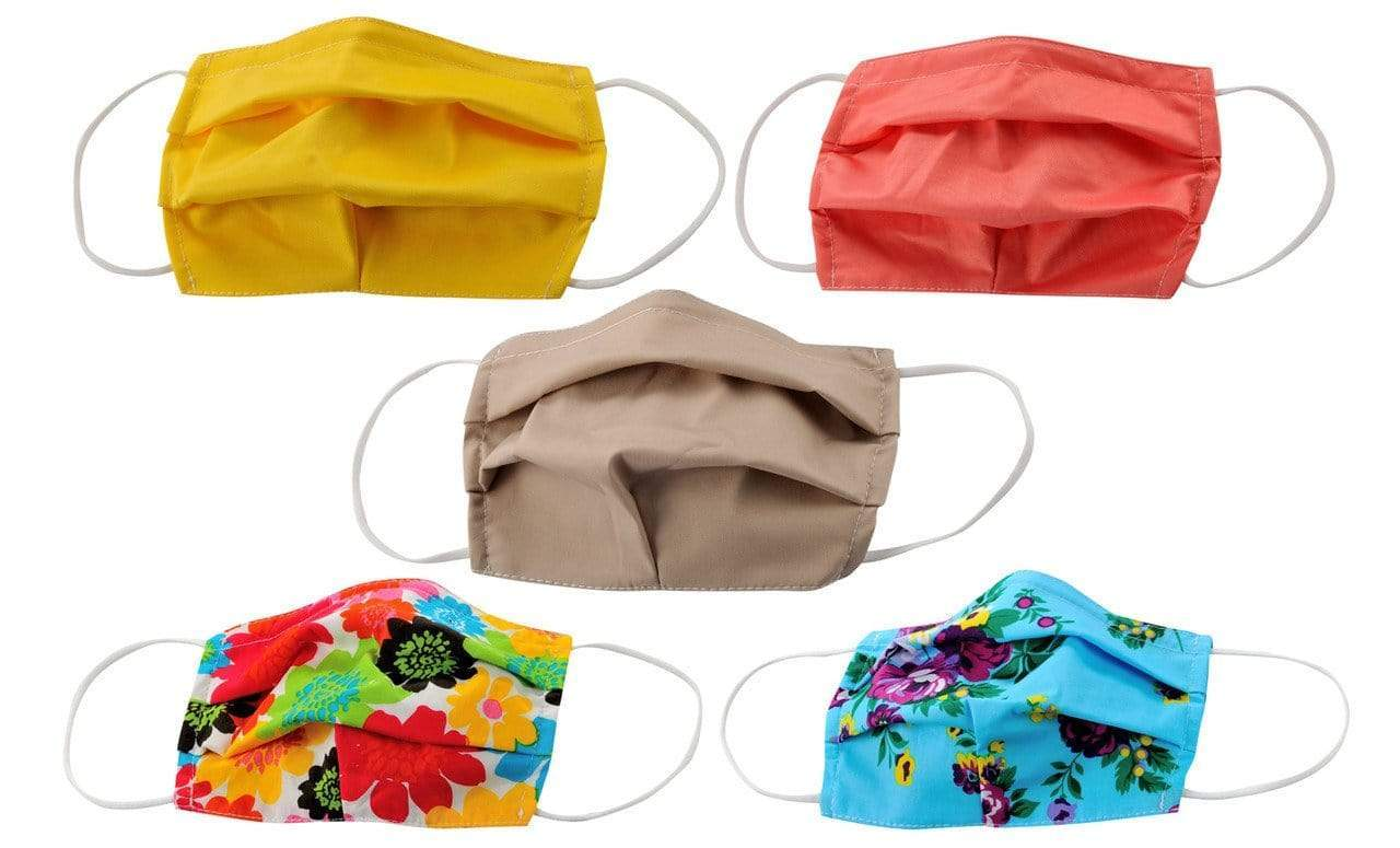 DAILYHAUTE FACE MASK MASK-PACK6 / One size / 5 5-Pack Pleated Reusable Cotton Non-Medical Masks with Adjustable Nose Bridge