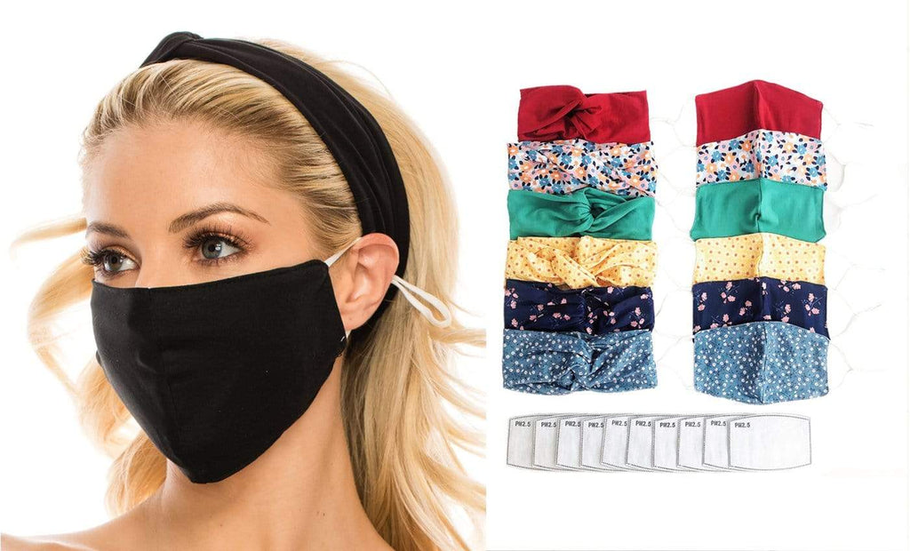 DAILYHAUTE FACE MASK BLACK / One size Fashion Fabric Reusable Mask with Adjustable Earloops with Matching Headband and 10 Free Filters