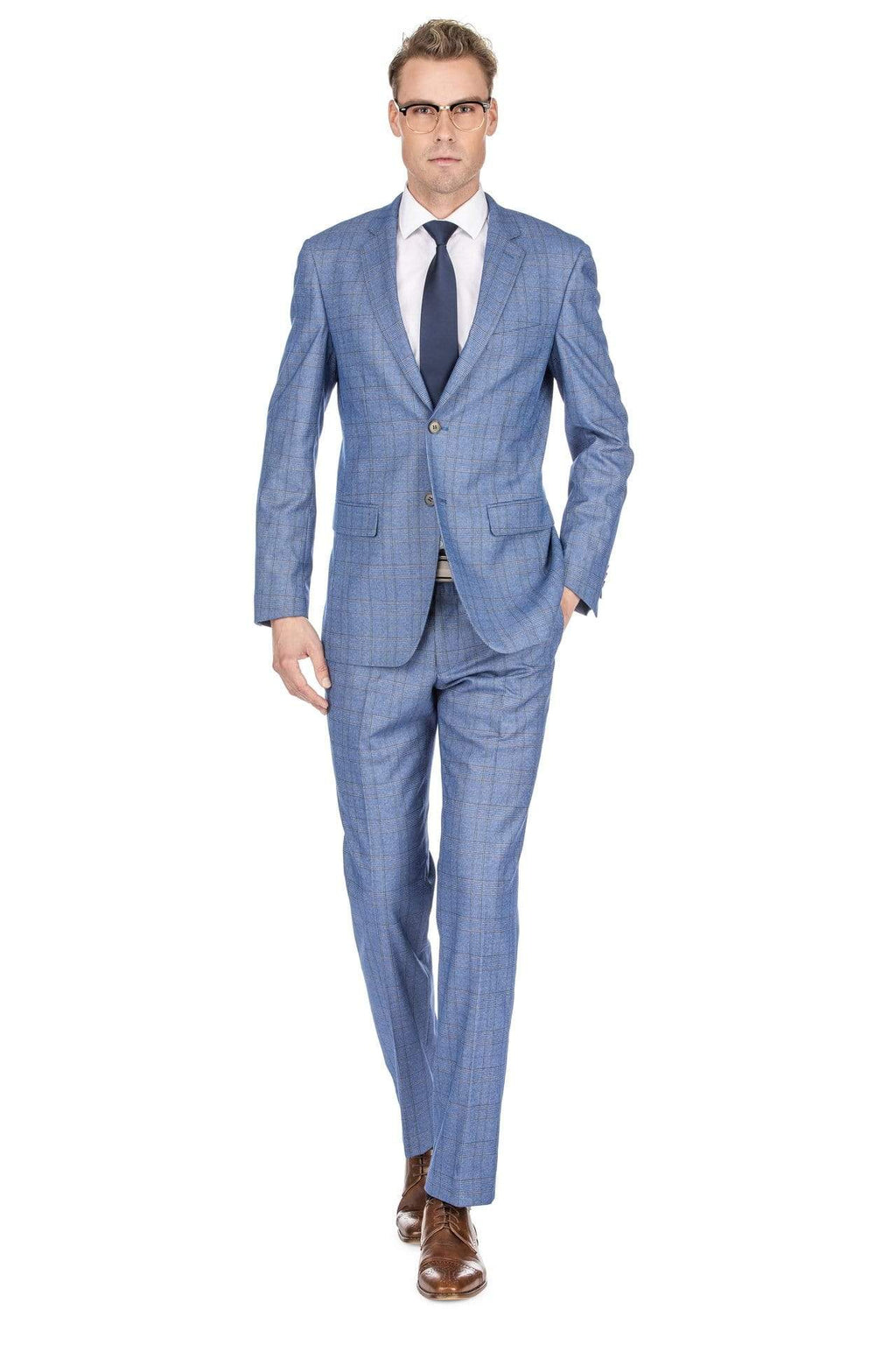 DAILY HAUTE Men's Suits BLUE / 36Rx30W Gino Vitale Men's Check Slim Fit Suits