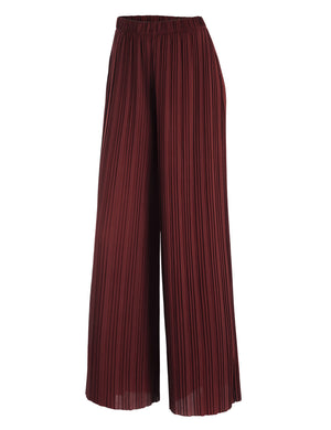 Women's Premium Pleated Maxi Wide Leg Palazzo Pants Gaucho- High Waist - DAILYHAUTE