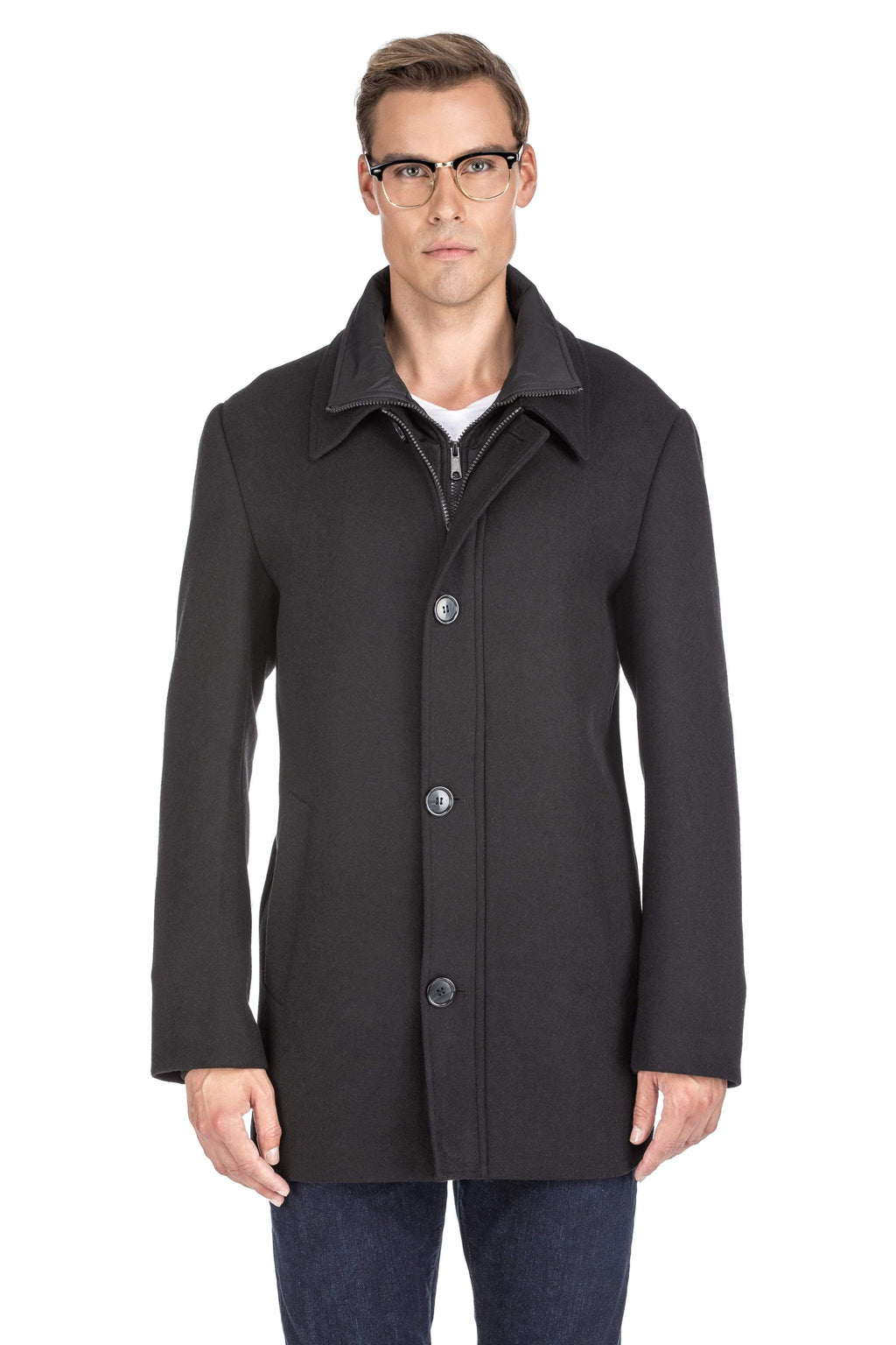 DAILYHAUTE Men's coats BLACK / SMALL Braveman Men's Classic Fit Wool Blend Bibbed Topcoat