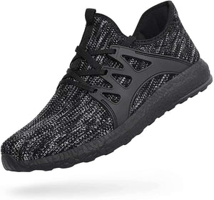 DAILYHAUTE MEN'S SHOES BLACK / 7.5 Braveman Men's Lace-Up Knit Running Shoes Athleisure Sneakers